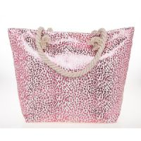 Large Glam Pink Rose Gold Metallic Animal Print Beach Tote Bag